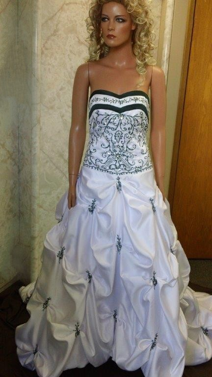 white forrest green wedding dress