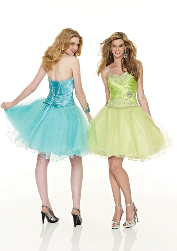 short strapless prom dresses