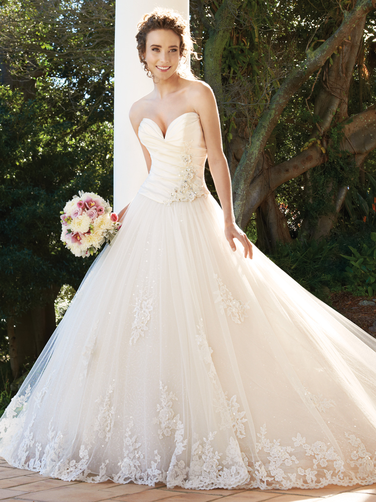 Plunging Sweetheart Ball Gown Wedding Dress