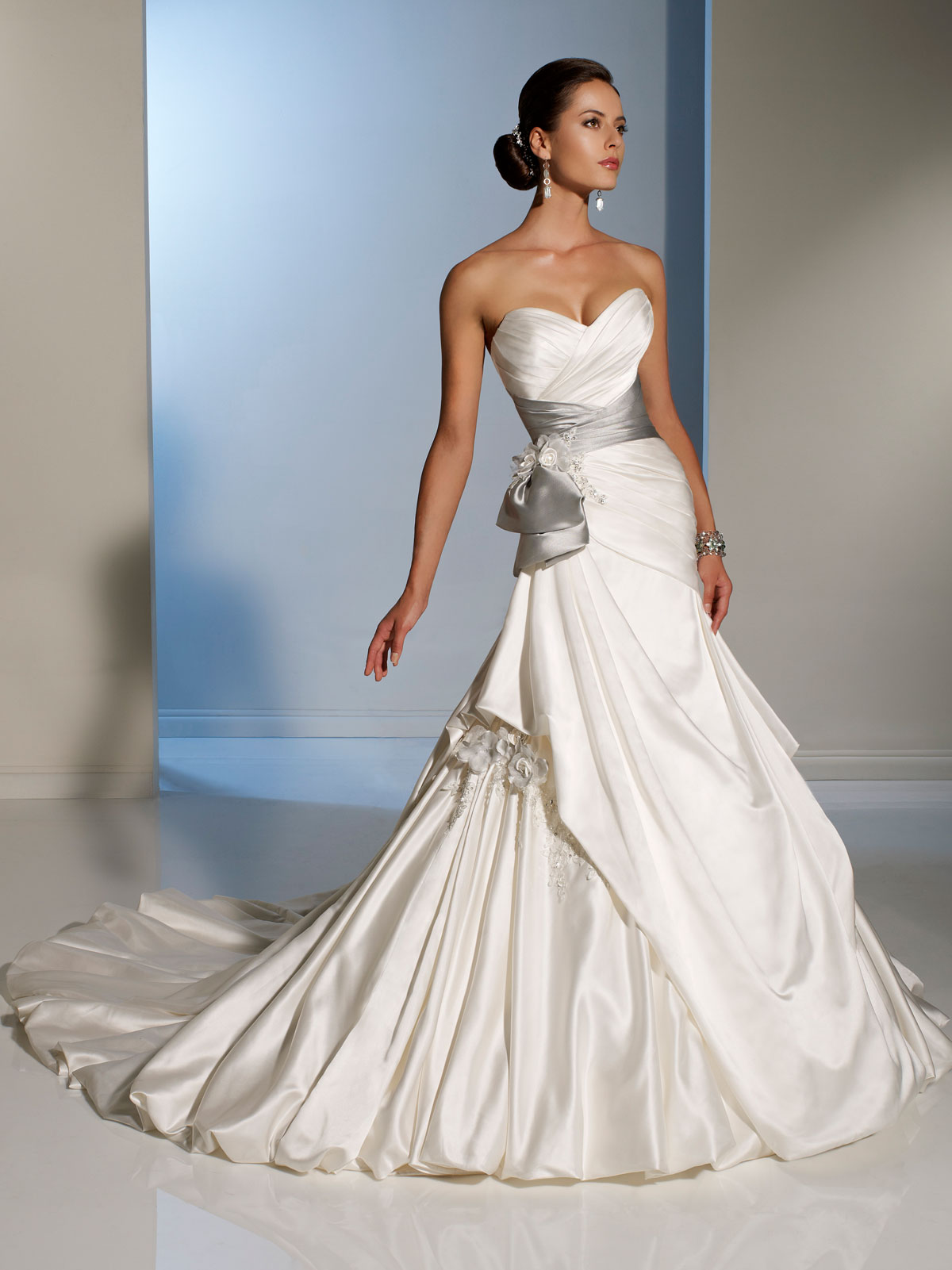 Side D Wedding Dress With Silver Sash