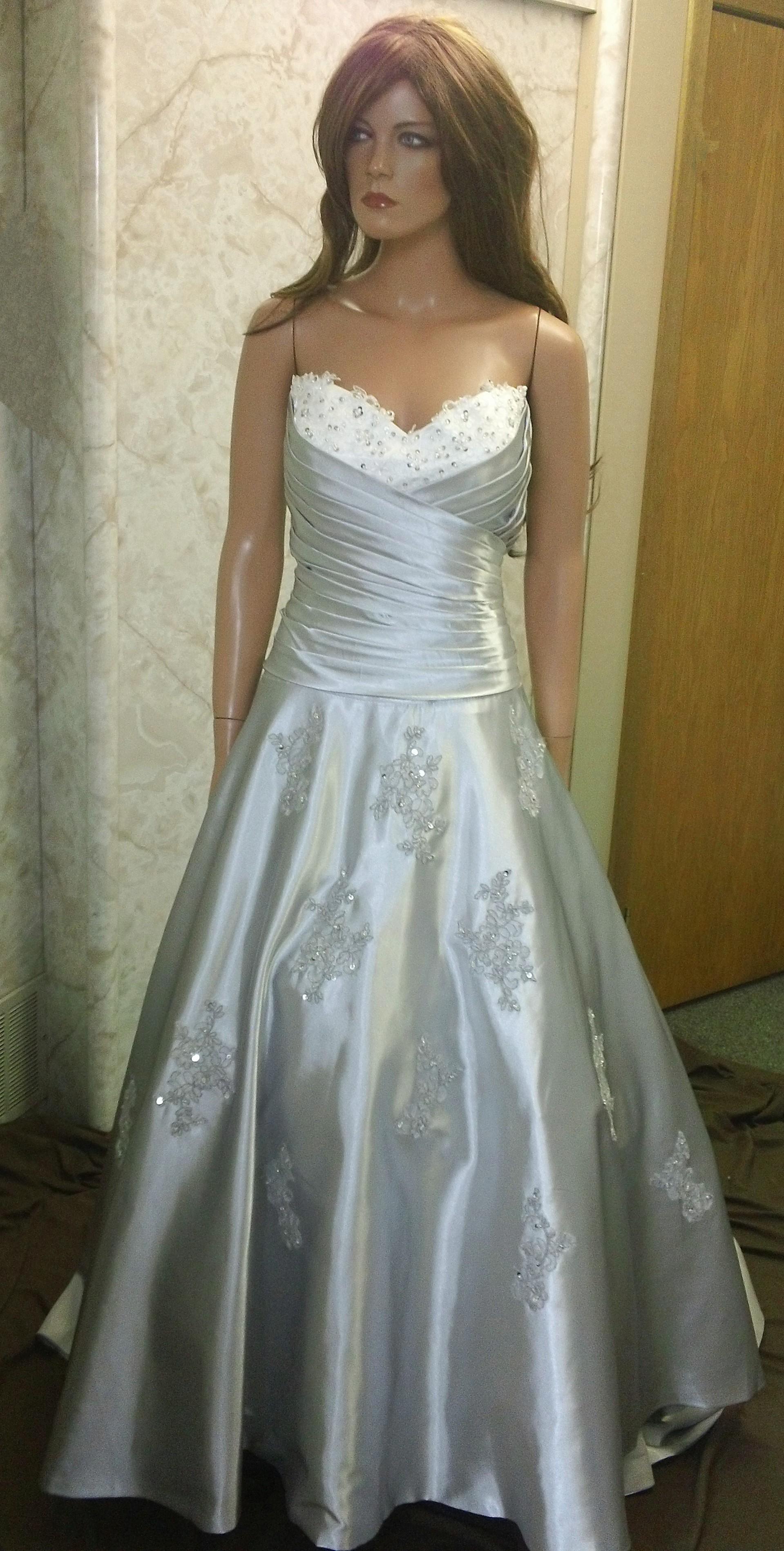 Silver and white draped bodice wedding dress.