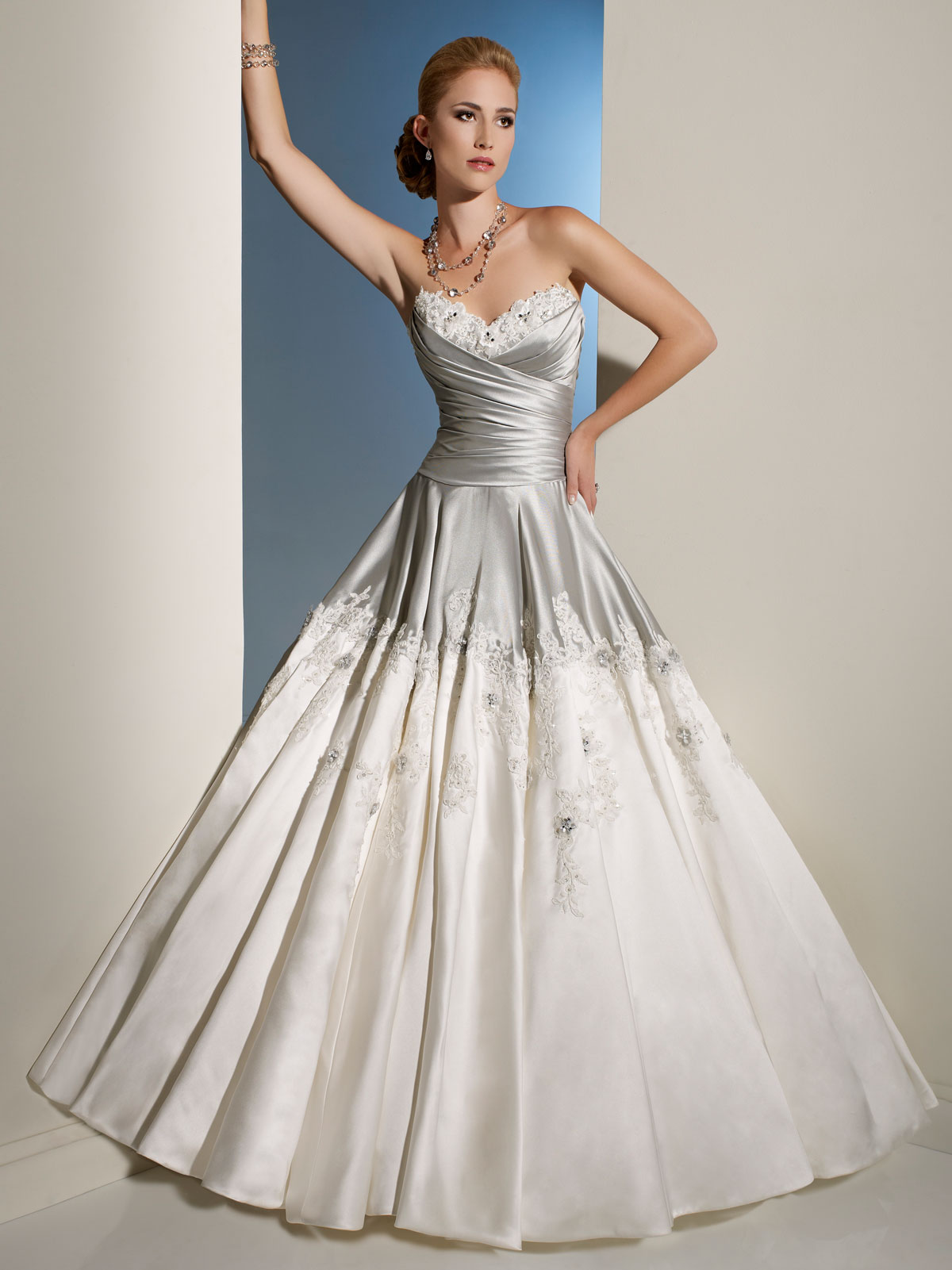 Wedding dresses: silver and white wedding dress
