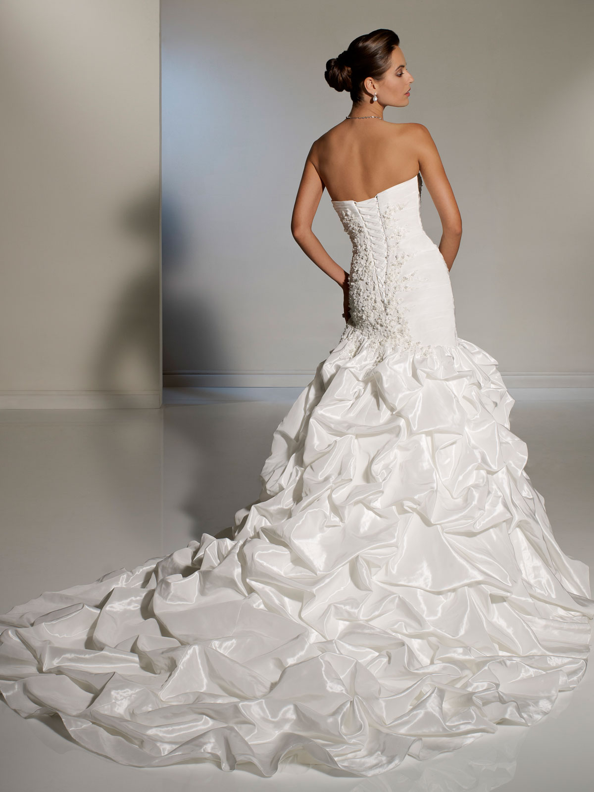 Strapless Wedding Gown With Waterfall Train