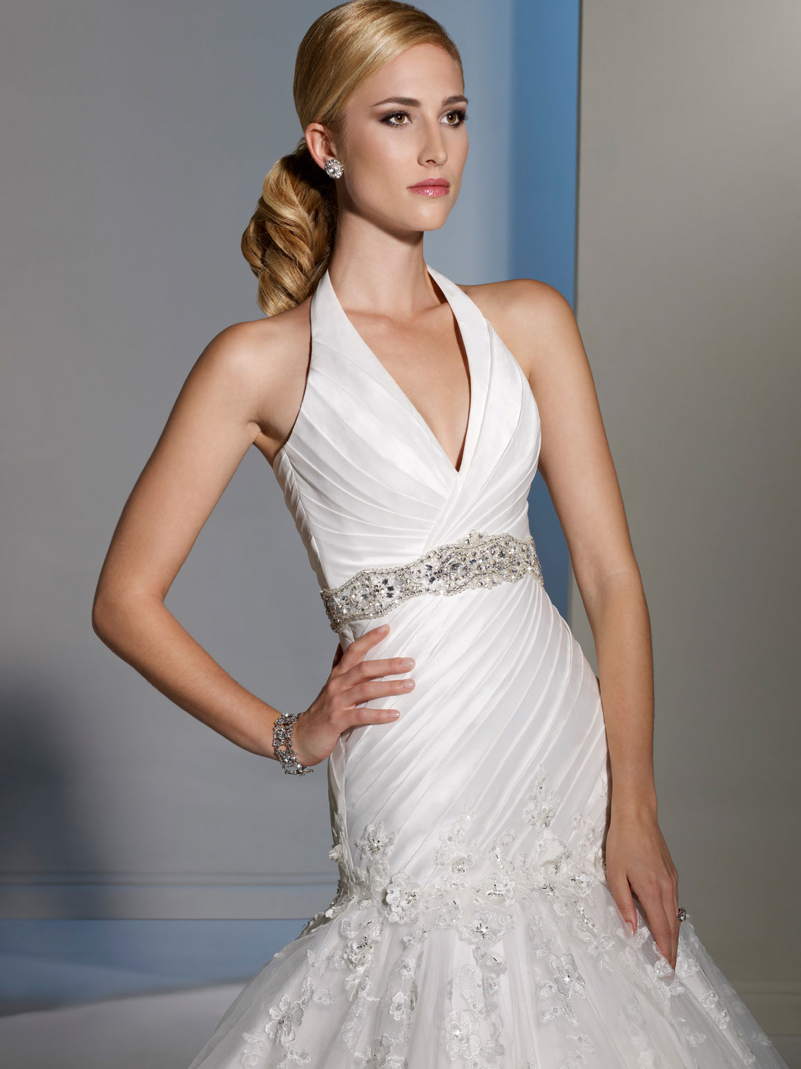 Halter dropped waist lace wedding dress.