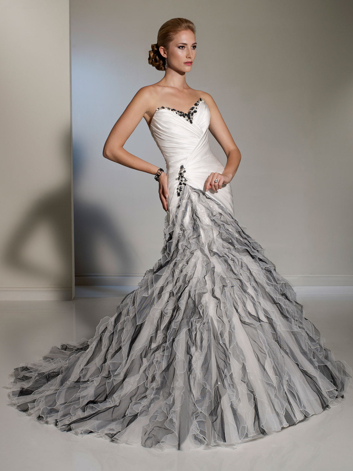 White silver fluted skirt wedding dress for Unique black and white wedding dresses