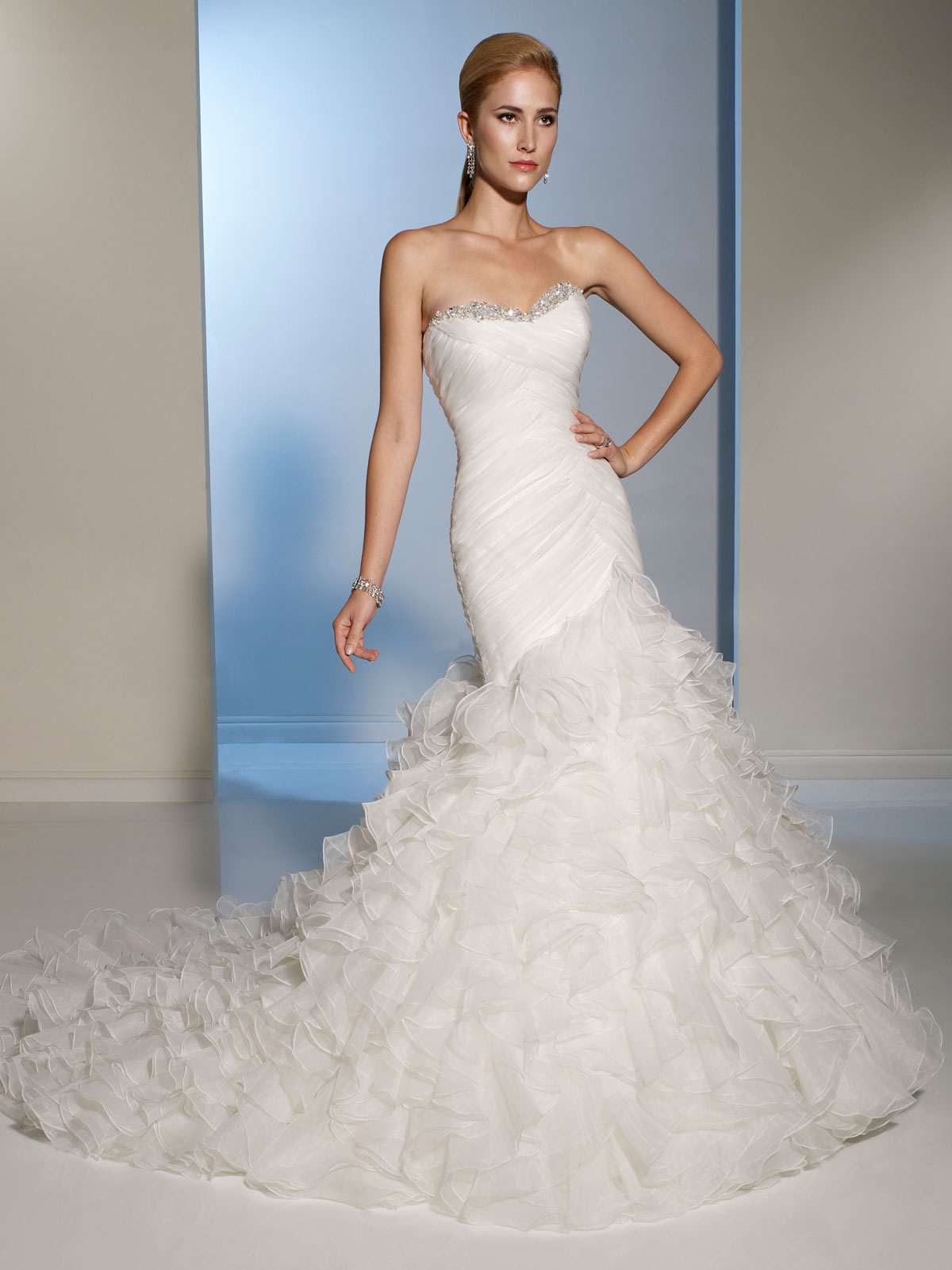 Organza Fit and flare wedding dresses.