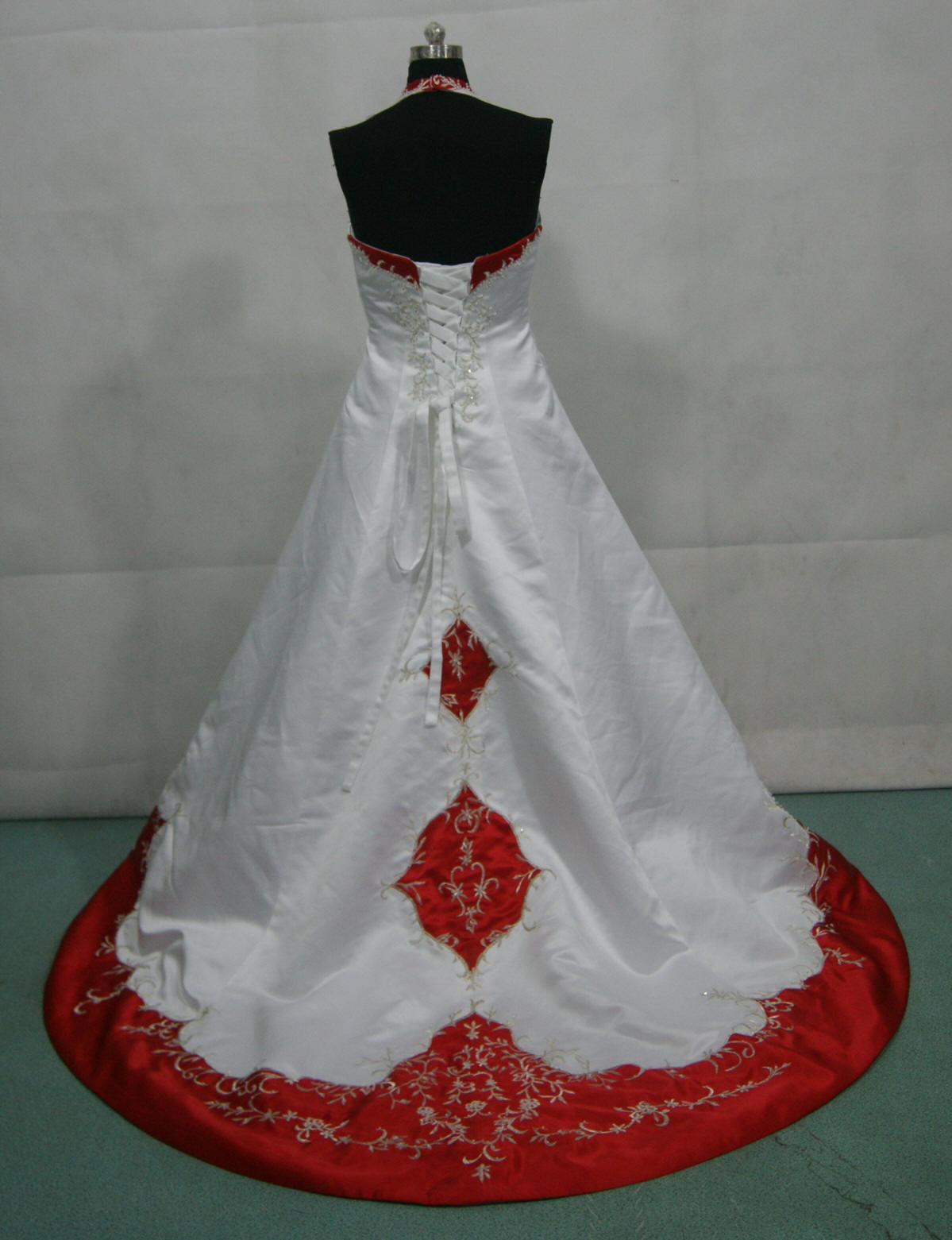 White and red corset wedding dress red and white wedding dress