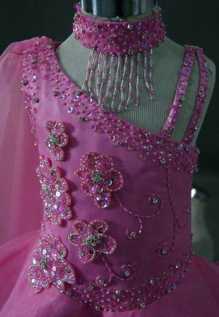 Pink toddler pageant dress with beaded flowers