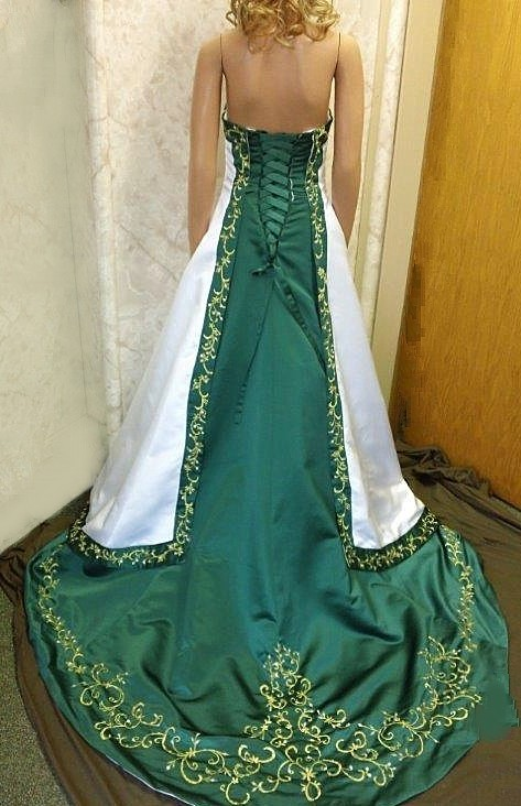 Gallery For White And Emerald Green Wedding Dresses