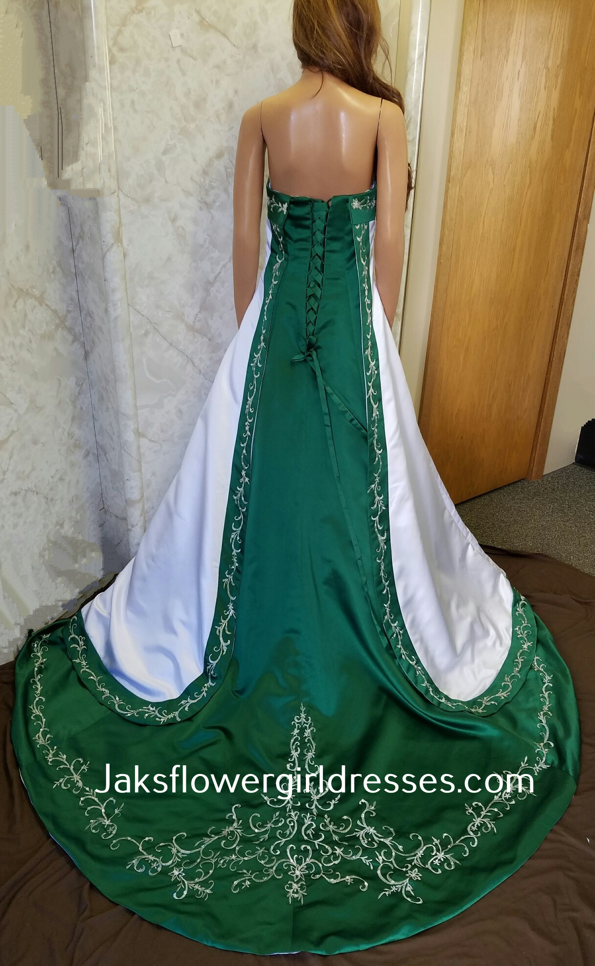 Strapless wedding gown with red trim for White and green wedding dress