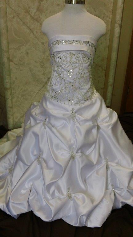 white miniature wedding gown