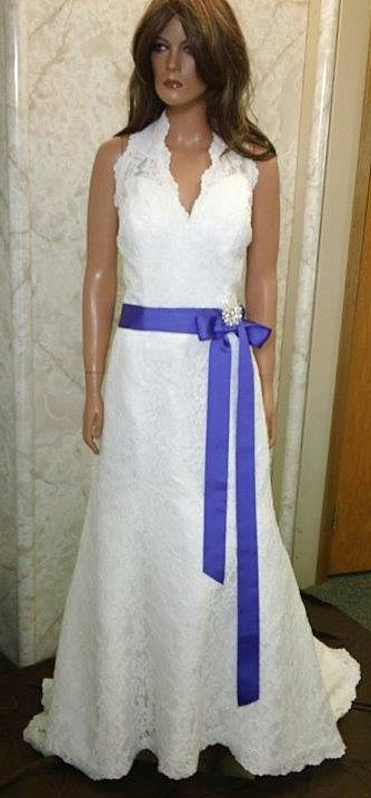 ivory purple wedding gown