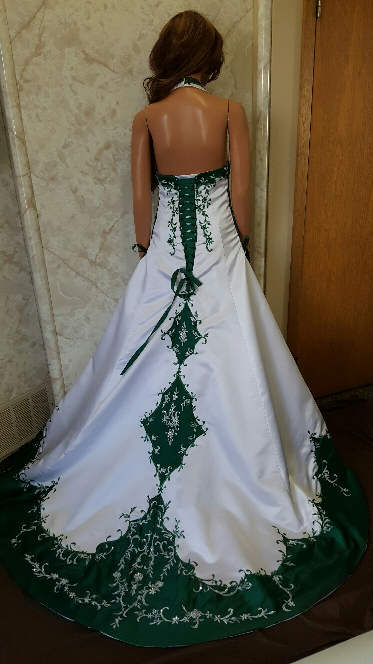 The gallery for emerald green and white wedding dress for Wedding dresses with green