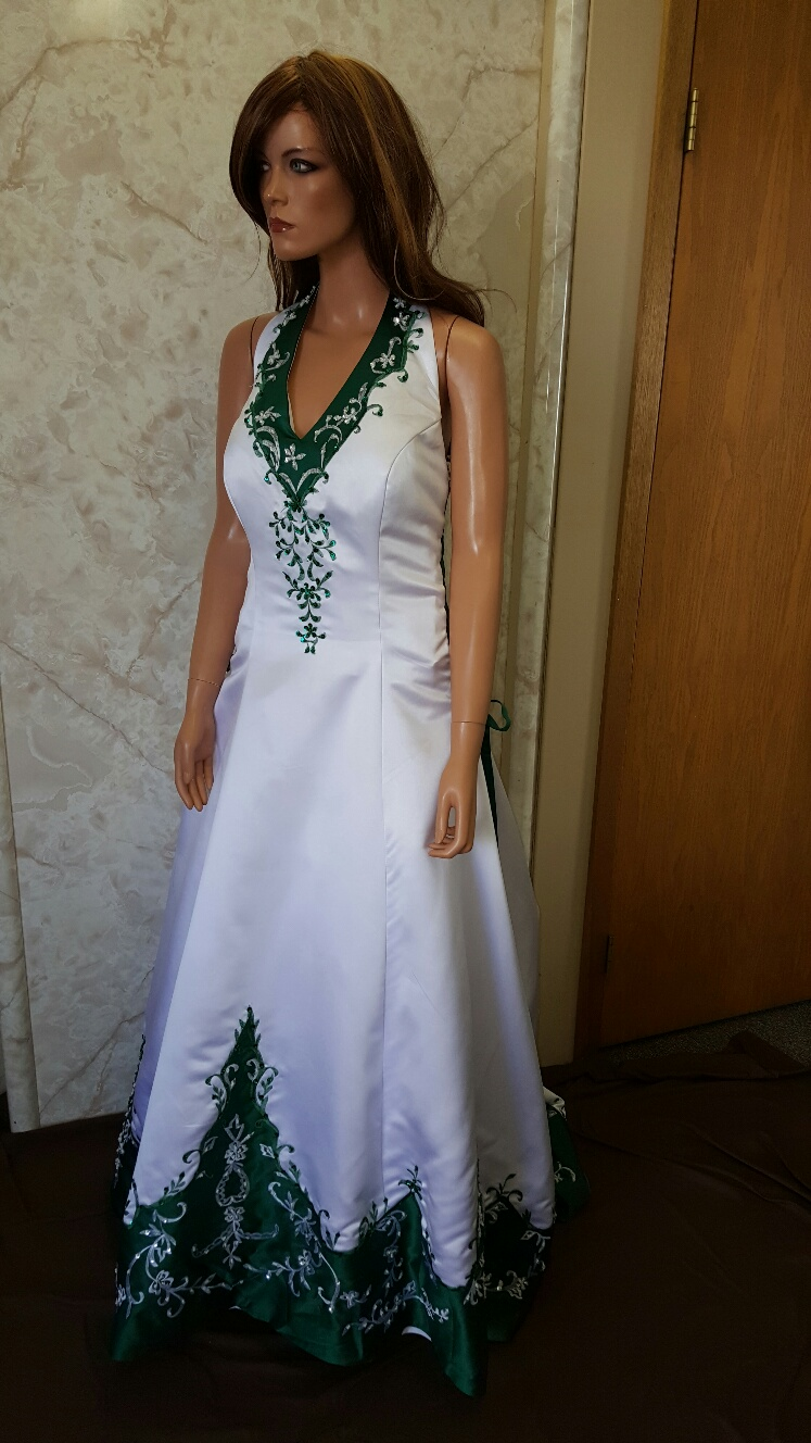 white and emerald green side corset wedding gown