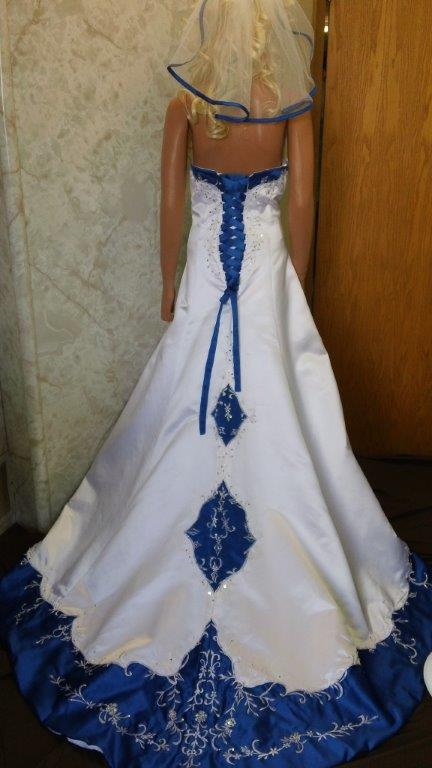 white and royal blue dresses