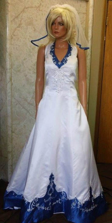 Wedding dresses with blue accents dress yp for White wedding dress with blue accents