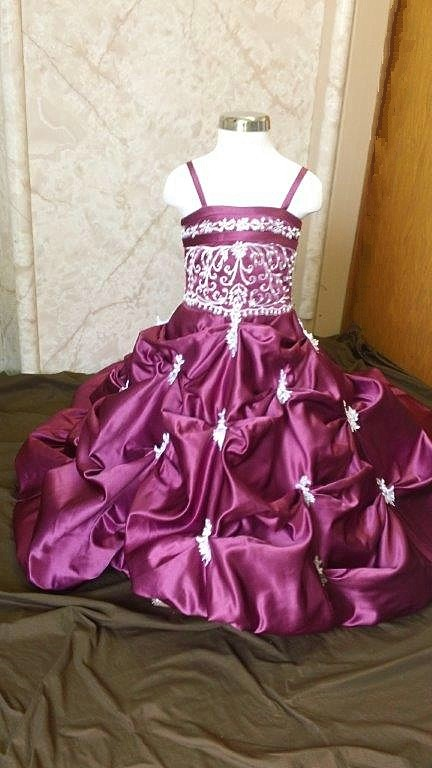 fuschia/white wedding gown