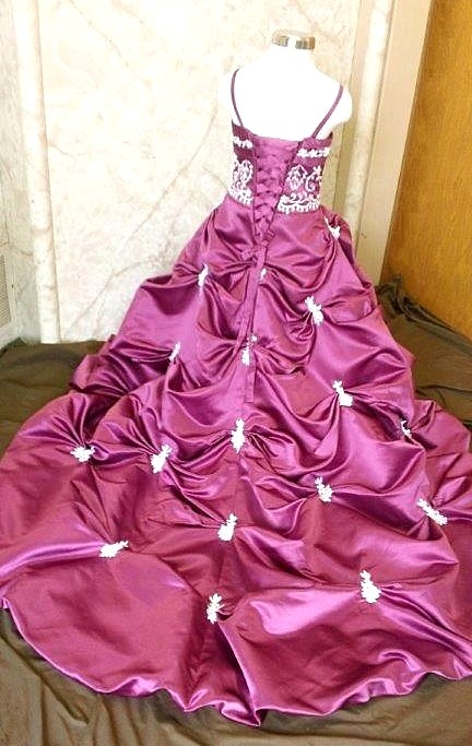 fuschia/white wedding dress