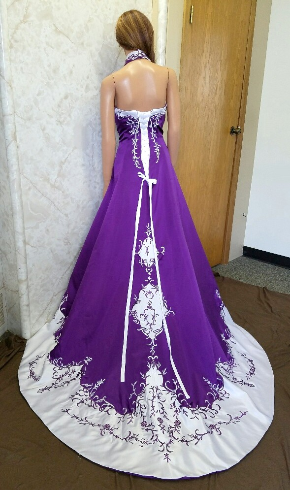 Red and white halter top wedding dress for Wedding dresses with purple trim