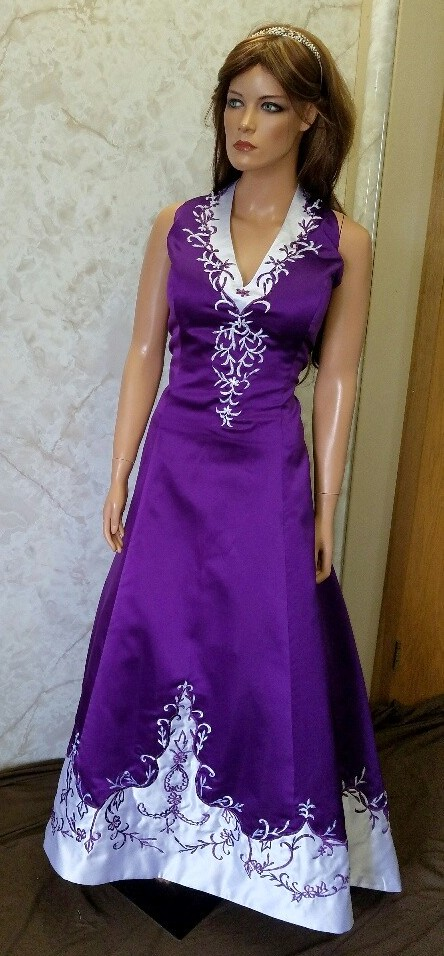 Red and white halter top wedding dress purple wedding dress junglespirit Images