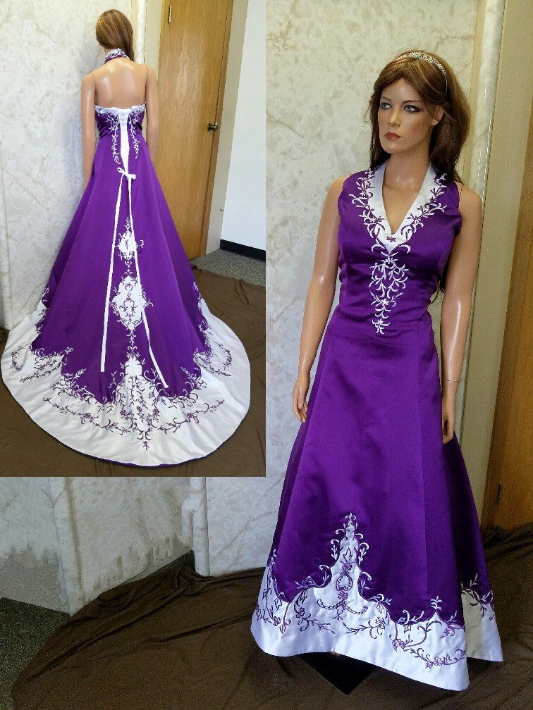 Wedding Dresses Trimmed In Purple Cheap Wedding Dresses