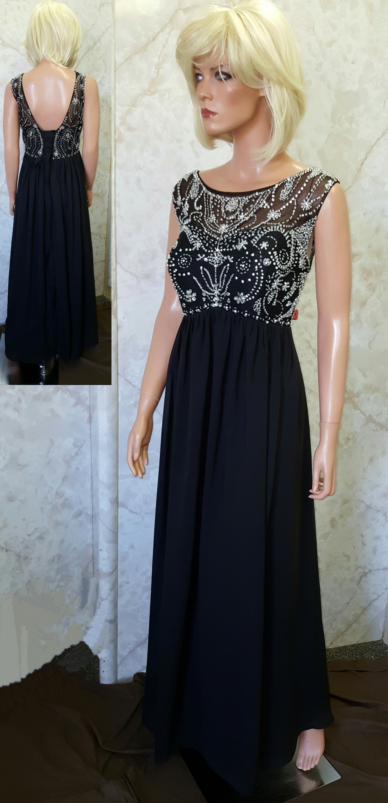 6dbfd79edfd ARK2016. black beaded chiffon dress