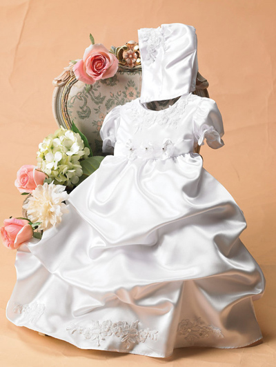 christening gowns with long pick up skirt