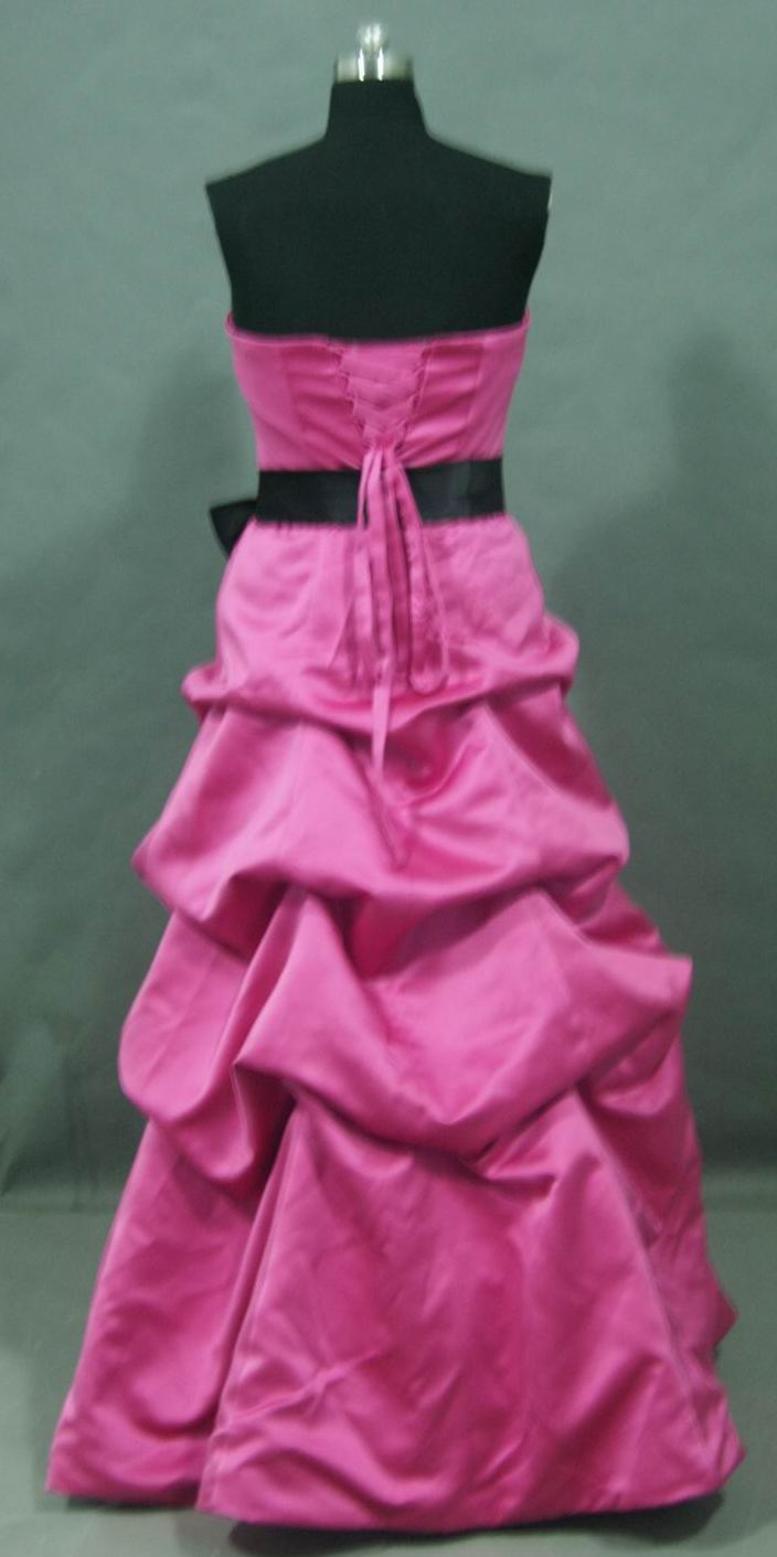 pink bridesmaid dress with black sash