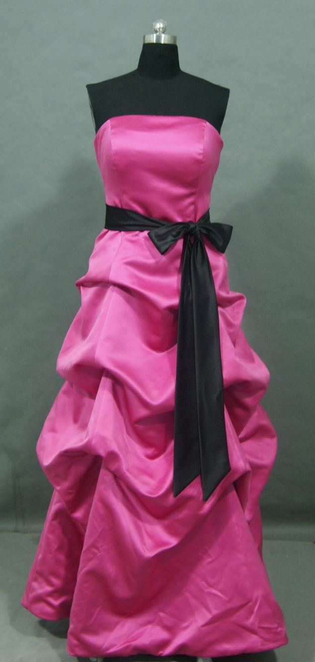 Black Pink Wedding Dresses Pink Organza Matching Infant Flower Girl And Bridesmaid Dresses