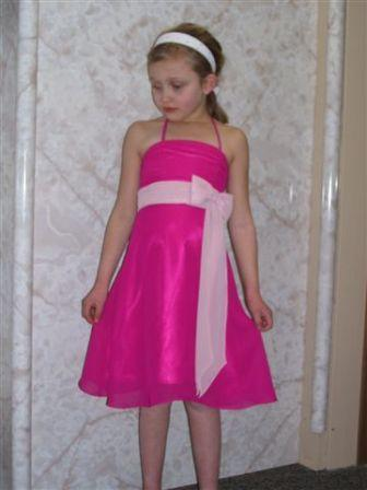 fuchsia bridesmaid dress with light pink sash