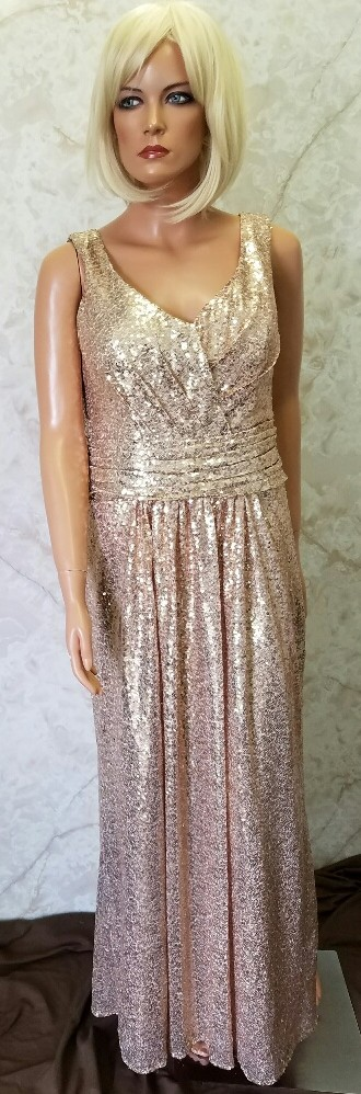 Champagne sequin bridesmaid dresses.