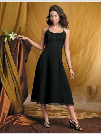 chiffon bridesmaid dresses in black