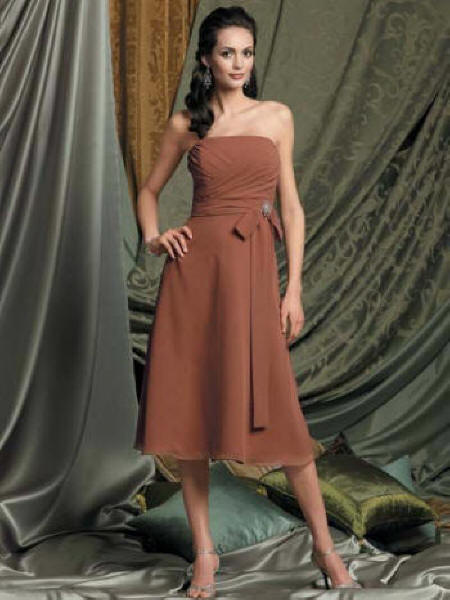 Copper Chiffon strapless dress