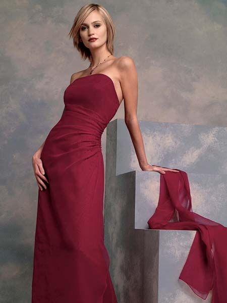 apple red strapless floor length dress