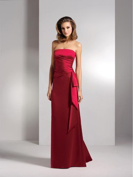 Long red strapless dress.