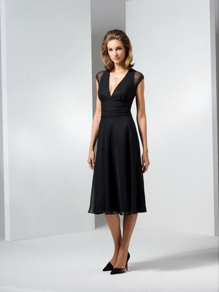 mother of the bride black chiffon dress