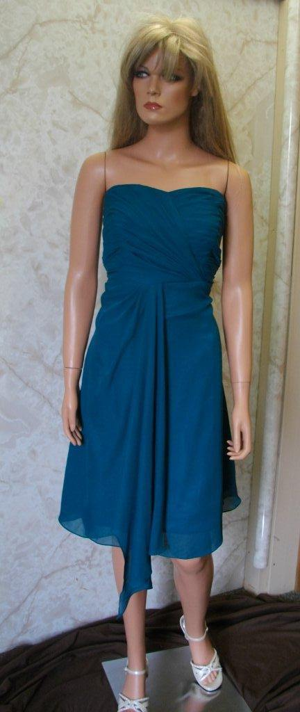 Short blue wrapped bodice bridesmaid gown