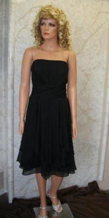 Strapless short black Chiffon Dress with Layered Skirt.