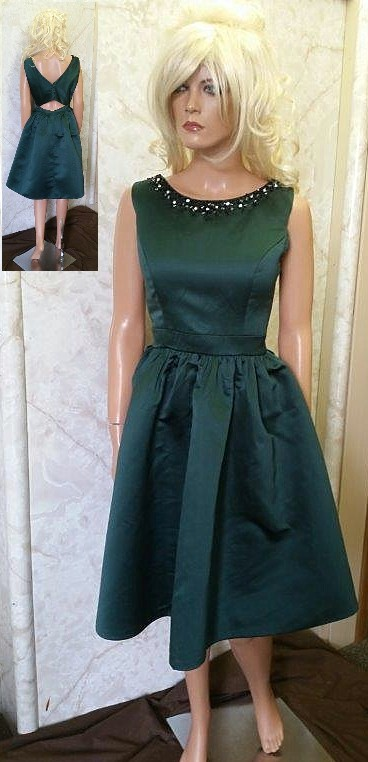 Forest Green Knee Length Dress