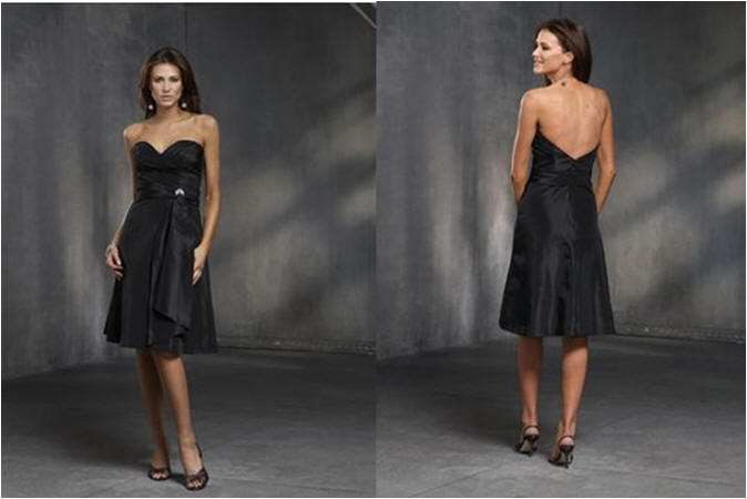 black strapless sweetheart bridesmaids dresses