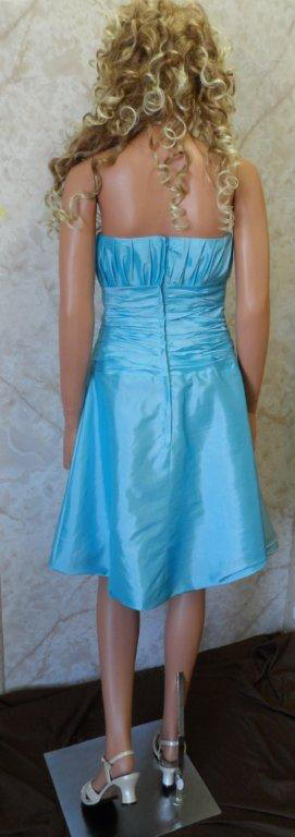 short pool blue bridesmaid dress