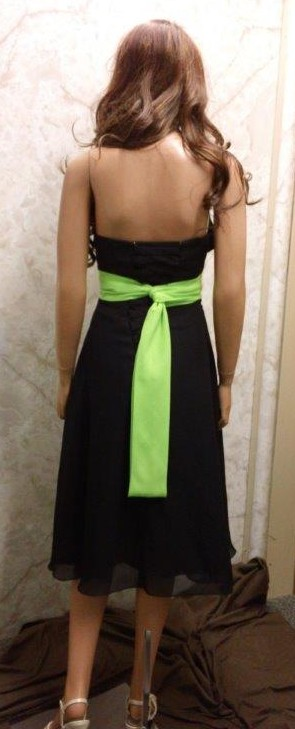 Black chiffon t-length bridesmaid dress with lime sash