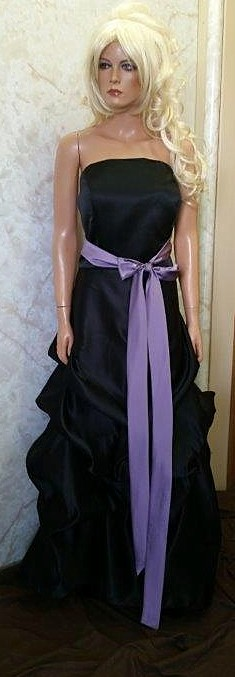 black bridesmaid dress with violet sash