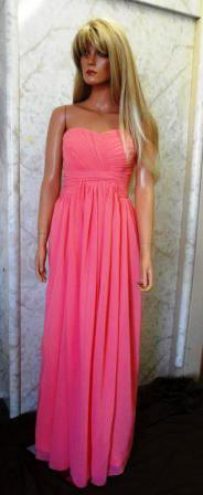 Chiffon Strapless Coral Sweetheart Bridesmaid Dress