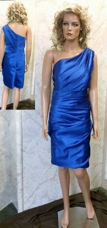 Royal blue chiffon one shoulder bridesmaid dress