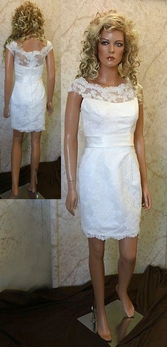 Short lace boat neck wedding dress.
