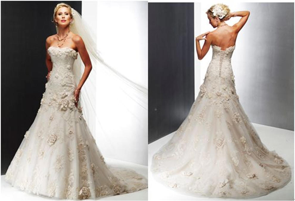 Bridal gown with floral motifs - Romantic wedding dresses.