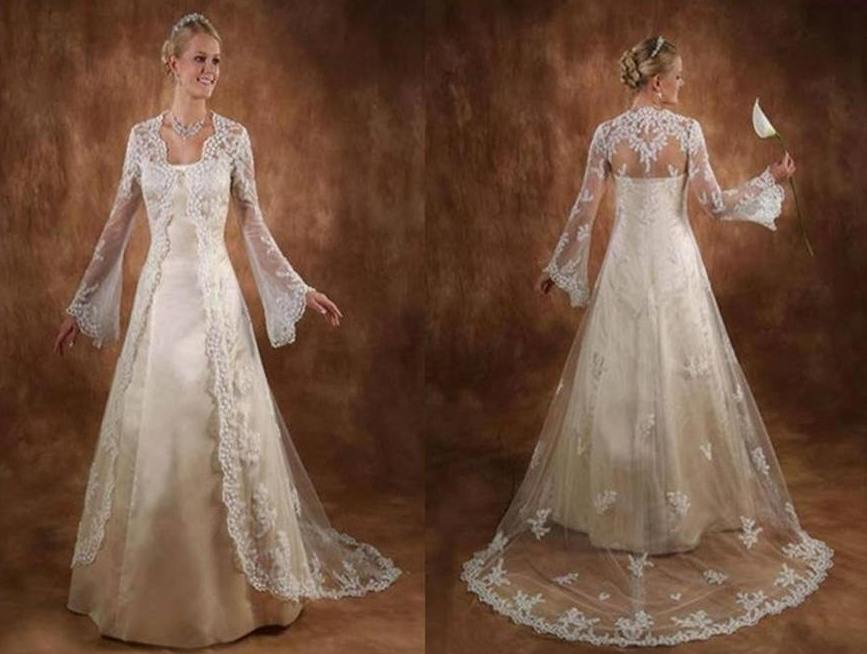 Wedding Gown With Lace Jacket Train