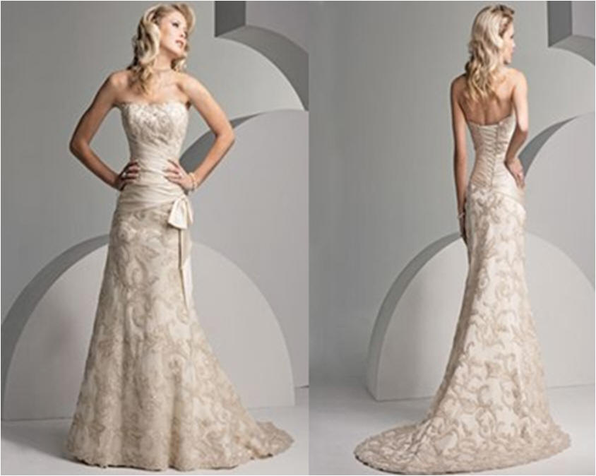 Strapless Mermaid Dress Ivory Lace Bridal Gown