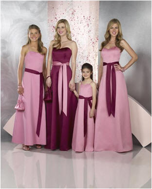 pink bridesmaid dresses with sashes
